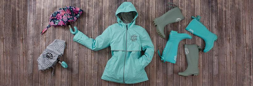 Monogrammed Rain Jackets