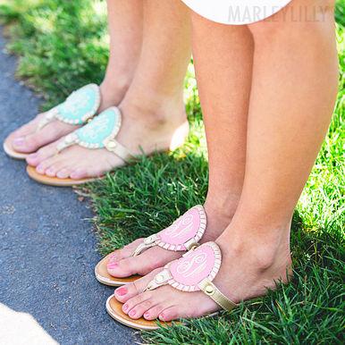 Monogrammed Embroidered Sandals Set
